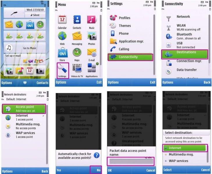 راهنمای تنظیمات اینترنت - گوشیهای دارای سیستم عامل سیمبین (Nokia)