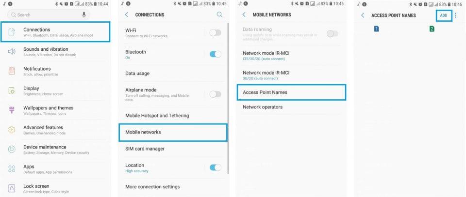 راهنمای تنظیمات اینترنت - گوشیهای دارای سیستم عامل Android